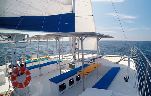 Kurt Hughes 36 catamaran deck